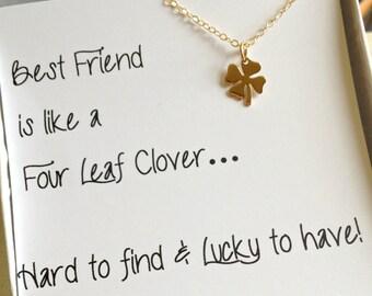 Four Leaf Clover Necklace, Best Friend Gift, Christmas Gift For Best Friend ,  Shamrock Necklace, Best Friend Gift, Gold ,  Birthday Gift