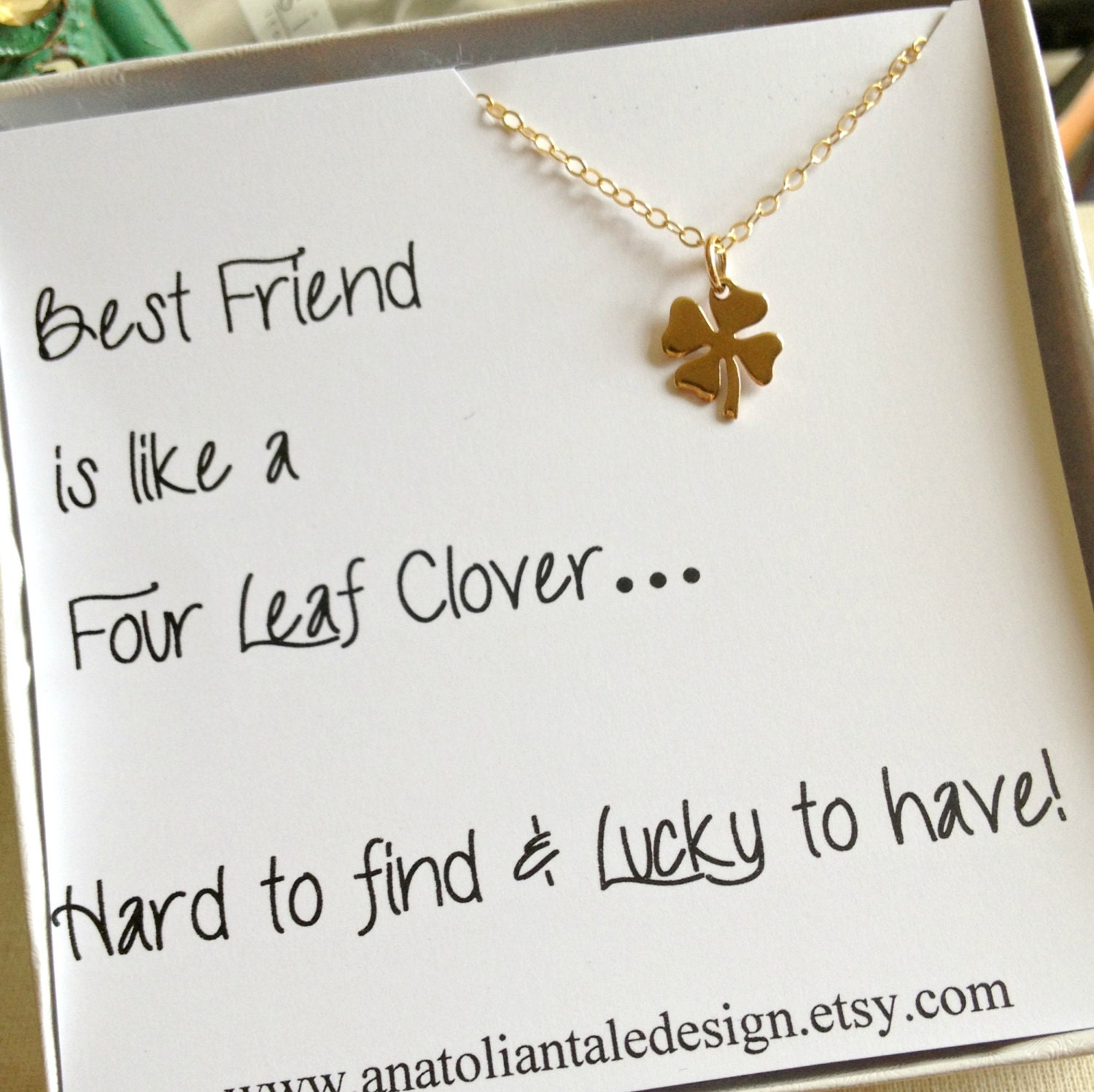 Four Leaf Clover Necklace Best Friend Gift By