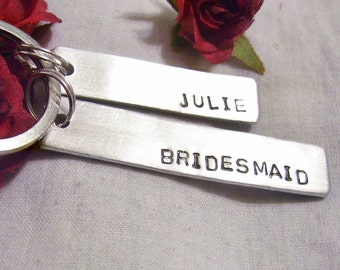 Bridesmaid custom hand stamped key chain, wedding attendant gift, name personal, gift from Bride