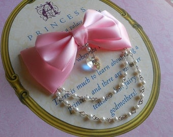 Hair clip or Brooch pink bow with heart and white beads sweet lolita