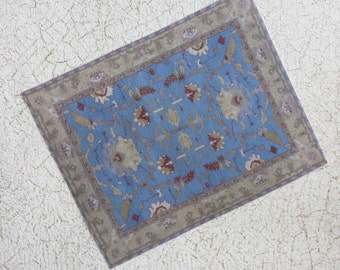 Dollhouse Miniature Oriental Rug Turquoise and Beige 1:12 Scale