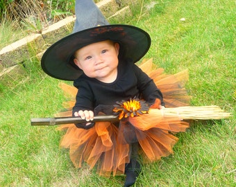 Tutu Witch Costume - Orange and Black - Infant / Toddler