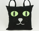 Black cat pillow, kids halloween cat cushion cover, children's room decor, OOAK - pineapplepetekids