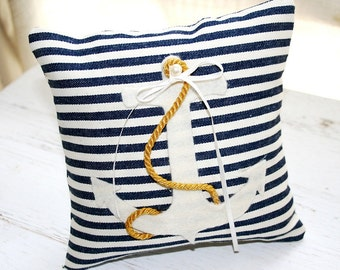 Ring Pillow - Nautical Chic - Anchor - Sailor Stripes - Golden Rope - Pearl Accent - Ring Bearer Pillow - Flower Girl Basket Available