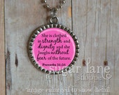 Proverbs 31:25 Bezel Style Necklace - (Pink and Black) - Silver Bezel Pendant with Chain