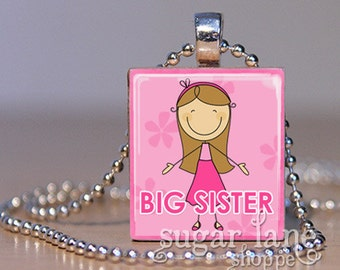 Big Sister Necklace - (Blonde, Brunette or Red Head on Pink) - Scrabble Tile Pendant with Chain