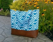 turquoise diaper bag made with leather bottom, tote bag in blue aquarius shakes geometric with leather, Everything Bag, Zig Zag,