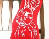 Screen Printed Bunny Softie Pillow With Red Back 6x12""
