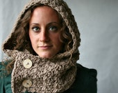Hooded Cowl - Scoodie - Oatmeal Brown - Wooden Buttons - Vegan Hat - Hood - Cowl - 8 Colors