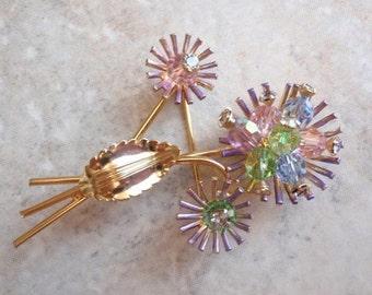 Flower Brooch Multi Color Beaded Rhinestone Gold Tone Thistle Vintage 130624