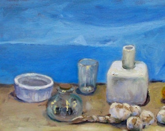 Blue still life, 67 x 21 cm Original oil painting