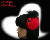 Black Heart Fascinator Hat in Scroll Work Wool, with Black and Red Hearts and Black Feathers