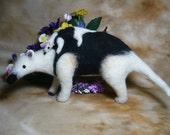 Unusual Needle Felted Northern Tamandua Anteater with Baby OOAK
