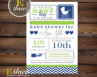 Carriage Baby Shower Invitation - Boy Baby Shower Invite - Navy, Green, Gray Chevron