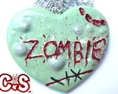 Zombie Necklace Green Zombie Heart Shaped Necklace Living Dead Jewelry