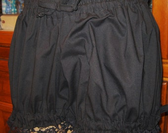 Womens Black Bloomers, Size Medium/Large, Costume, Pajama Bottoms, Womens bloomers, Trimmed in Black Lace