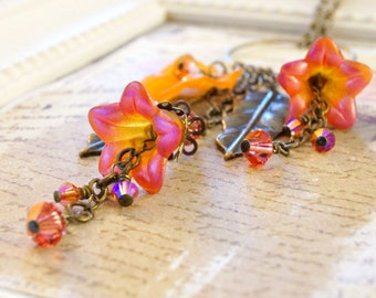 Passion Pink and Orange Lucite Flower Necklace