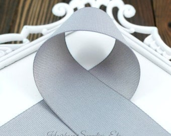 Dark Gray 1 1/2 inch Solid Grosgrain Ribbon - Metal Gray Ribbon - Choose 1 or more yards - Hairbow Supplies, Etc
