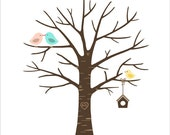 Baby Shower Fingerprint Tree -Thumbprint -PRINTABLE JPEG kissing birds and baby bird with bird house - Custom color, size, text and language