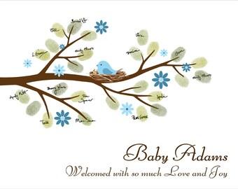 Baby Shower Guest Book Fingerprint Tree, Custom Thumbprint Signature Baby Shower Guestbook baby bird on the branch - DIGITAL PRINTABLE JPEG