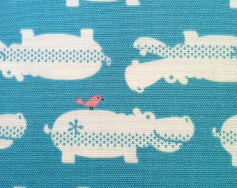 One Yard-KOKKA Printed Oxford- Hippos in Light Turquoise