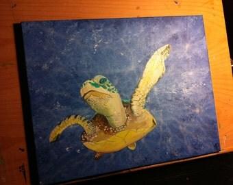 My Blue World- 16 x 20, acrylic on canvas, ready to hang, ORIGINAL by Michael H. Prosper