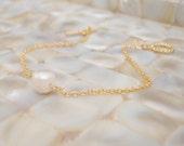 Freshwater Pearl Bracelet, Gold Pearl Bracelet, Gold Simple Bracelet