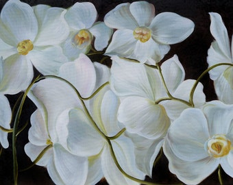ORIGINAL Oil Painting Night Dreams 23 x 36 Flowers Realism White Orchid Black Big  ART By MARCHELLA