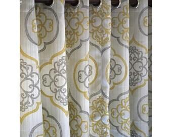 "Geometric Light Gold Damask Curtain Panels 52""x96"" Grommet Drapes Valence Bedroom Window Treatments"
