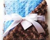 Minky Baby Blanket - Blue and Chocolate - Etsykids Team - Blue and Brown - Baby Boy Blanket - Minky Blanket - Baby Shower Gift