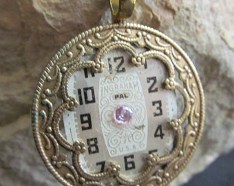 Steampunk Watch Face and Ornate Filigree Necklace Industrial Art Pendant P 73