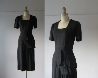 vintage 1940s dress / 40s dress / Night Music