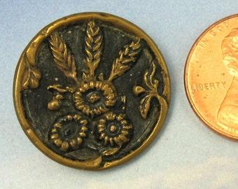 Victorian Antique Button Ornate Floral Brass Button 250