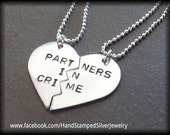 Hand Stamped Personalized Partners In Crime Best Friends BFF Girlfriends Necklace