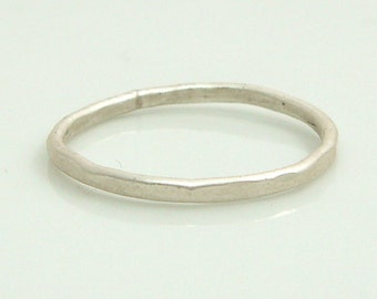 Hammered Silver Ring Sterling Silver Brushed Finish Hammered Ring Made to Order