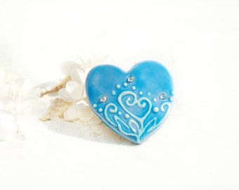Valentine Heart Barrette  - Blue Heart Barrette - Valentine Gift - Valentines Day Gift For Her - Hair Fashion Barrette - Hair Accessory