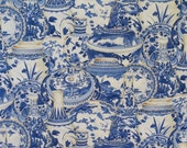 REMNANT--Blue Willow Vase Print Pure Cotton Fabric from Fabri-Quilt--1/2 Yard