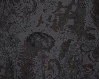 Smoke Color After Dark Print Pure Cotton Fabric--One Yard