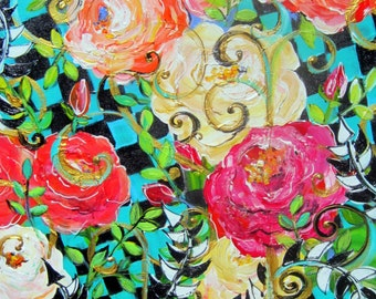 Rose Landscape 22 x 28 Original Painting by Elaine Cory