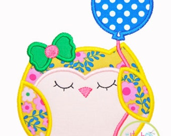 Owl Balloon Applique Design in 4x4, 5x7 and 6x10 INSTANT DOWNLOAD now available