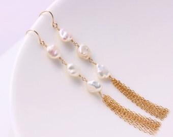 Keshi Pearl Tassel Earrings, 14k Gold Filled, White Creamy, June Birthstone, Gemstone, Wire Wrapped