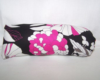 Reversible Car Seat ARM PAD Handle Cover --  Black Hot Pink and White Floral fabric with Pink White Damask