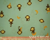 "Cotton fabric - Cute monkeys with banana - FINAL half yard - yellow - animal fabric - headscarf, Check out with code ""5YEAR"" to save 20% off"