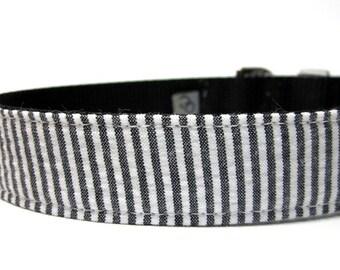 Handmade Dog Collar -Black Seersucker