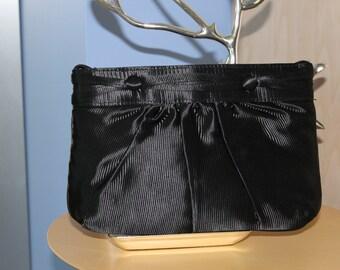 Black Satin Clutch Evening Bag by Vanessa