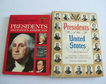 Vintage Lot of Books United States Presidents DeLuxe Golden Book and American Heritage