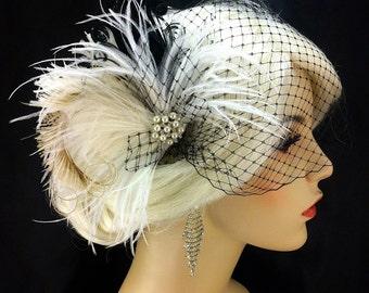 Fascinator, Bridal Feather Fascinator, Bridal Headpiece, Wedding Veil, Wedding Fascinator, Feather Fascinator, Black, White, Ivory, Pearls