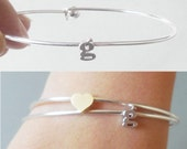Silver Letter Bangle initial Bracelet Lowercase Initial Bangle personalized monogram gift  bridal anniversary mom girlfriend bridesmaid