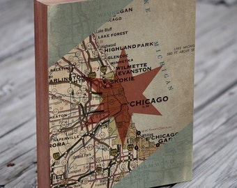 Chicago Six-Pointed Star - Wood Block Art print