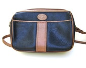 Vintage Liz Claiborne Purse, Blue and Brown Pebble Leather Shoulder Bag